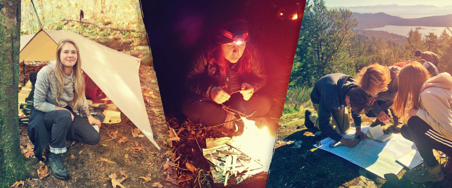 Students camping, lighting a fire and map reading